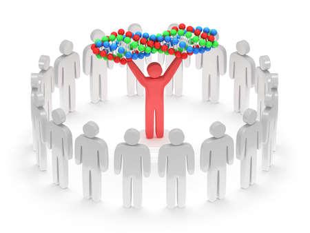 uomo rosso: I bianchi in cerchio intorno all'uomo rosso con la catena del DNA. 3D render Archivio Fotografico