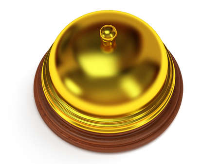 metal base: Golden hotel reception bell with metal body on wooden base. 3d render