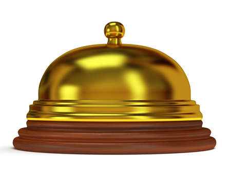 Golden hotel reception bell with metal body on wooden base. 3d render photo