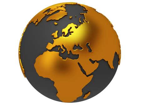 Planeten Erde Globus. 3D übertragen. Europa Ansicht. Auf weißem Hintergrund.