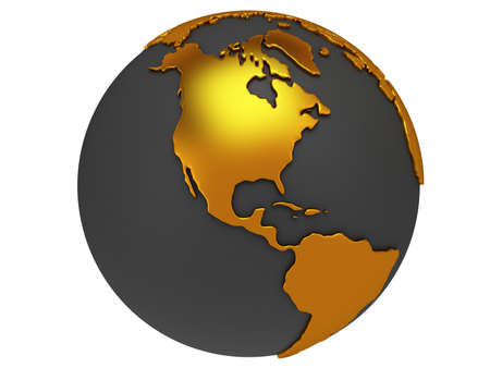 Earth planet globe. 3D render. America view. On white background.