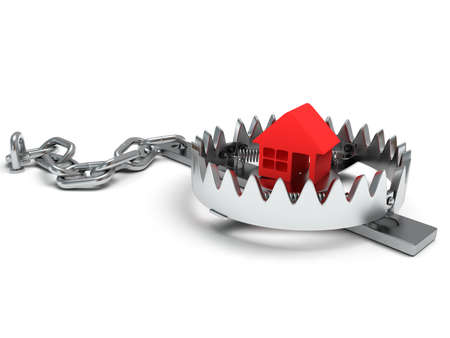 Metal animal trap open with red home. Isolated. 3D render. Mantrap, real estate, danger, risk, credit concept
