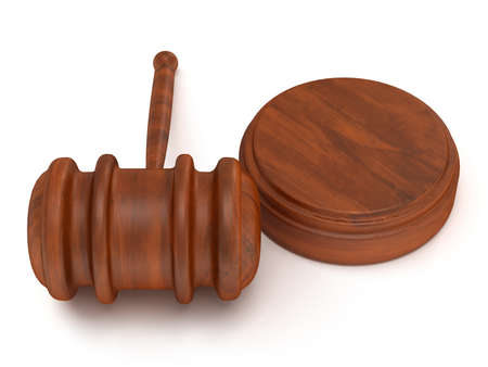 Wooden gavel. Judge, Law, Auction concept. 3d Render. Isolated white background. photo