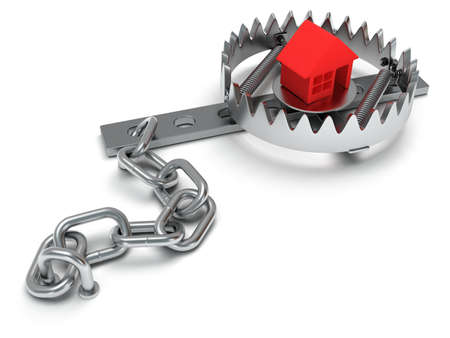 animal trap: Metal animal trap open with red home. Isolated. 3D render. Mantrap, real estate, danger, risk, credit concept
