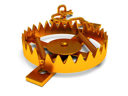 Metal animal trap open. Attached to the ground with a metal chain. Isolated. 3D render. Mantrap danger risk concept Stock Photo