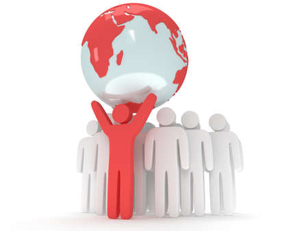 praise: Earth planet globe and group of people with teamleader. 3D render. America view. Praise, teamwork, eco, business, global concept.