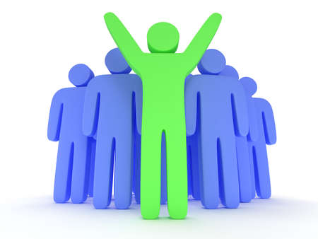 teamleader: Group of stylized blue people and green teamleader with hands up stand on white. Isolated 3d render icon. Teamwork, business concept.