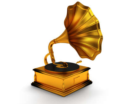 3d gold vintage gramophone isolated on white background. Retro music concept photo