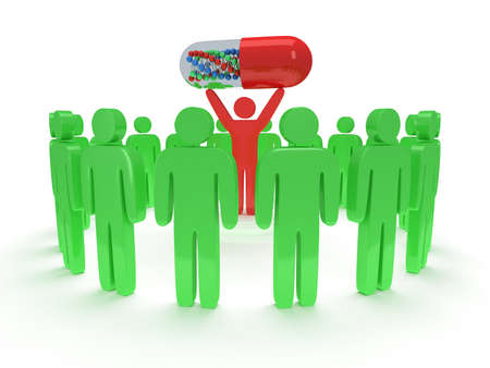 uomo rosso: Persone verdi in cerchio intorno all'uomo rosso con catena pillola DNA all'interno. Rendering 3D. Lavoro di squadra, le imprese, la lode, associazione, pillole, la medicina.