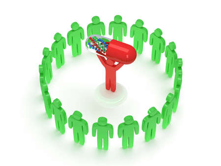 praise: Green people in circle around red man with pill DNA chain within. 3D render. Teamwork, business, praise, partnership, pills, medicine. Stock Photo