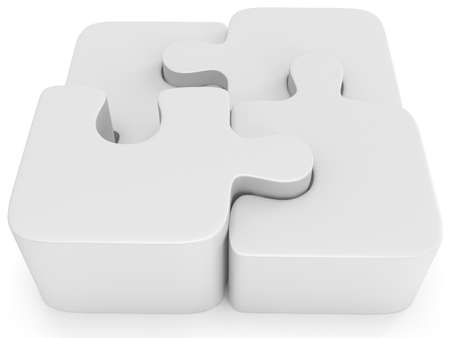 assembling: 3d white blank puzzle isolated. Business, teamwork, assembling concept.