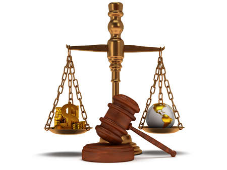 justice balance: Scales justice with wooden gavel coins, dollar sign and earth globe on white. Judge, law, auction, business concept. 3d Render. Isolated white background.