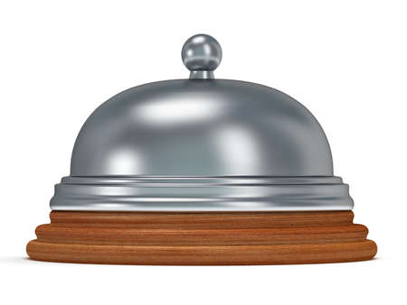metal base: Hotel reception bell with metal body on wooden base. Vacation, travel, service concept.
