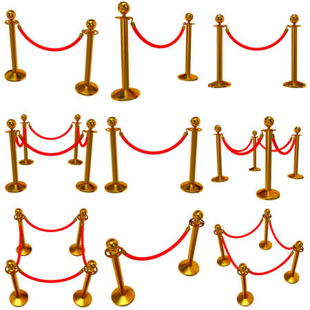 rope barrier: Set of golden rope barrier - 3d render. Fence with red rope isolated on white. Luxury, VIP concept