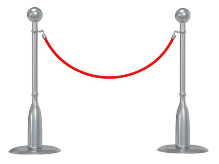 rope barrier: Silver rope barrier - 3d render. Fence with red rope isolated on white. Luxury, VIP concept Stock Photo