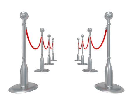 Silver rope barrier - 3d render. Fence with red rope isolated on white. Luxury, VIP concept photo
