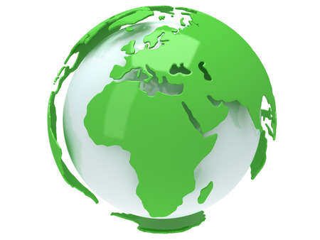 green and white: Earth planet globe. 3D render. Africa view. On white background.