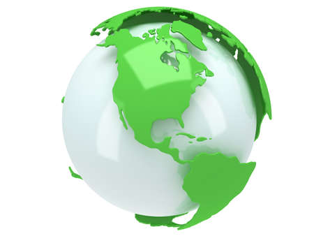 equator: Earth planet globe. 3D render. America view. On white background.