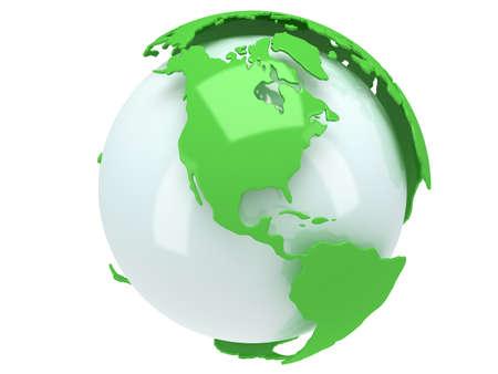 Planeten Erde Globus. 3D übertragen. Amerika-Ansicht. Auf weißem Hintergrund.