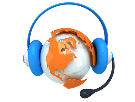 hands free: Earth planet globe with headset. 3D render. America view. On white background. Music, call center, phone, hands free concept.