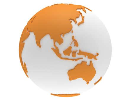 지구 행성 글로브입니다. 3D 렌더링. 중국보기. 흰색 배경에.