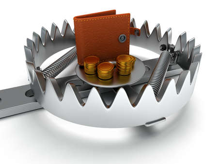 animal trap: Metal animal trap open with money. Attached to the ground with a metal chain. Isolated. 3D render. Mantrap, danger, risk, credit concept Stock Photo