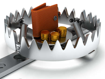Metal animal trap open with money. Attached to the ground with a metal chain. Isolated. 3D render. Mantrap, danger, risk, credit concept Stock Photo