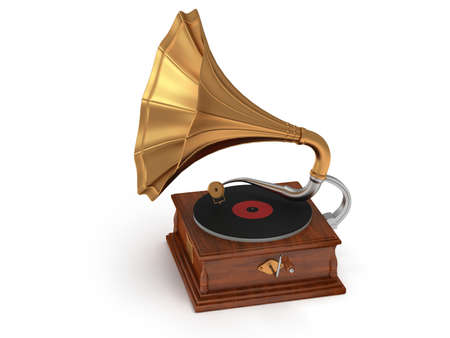 gold record: 3d old vintage gramophone isolated on white background. Retro music concept