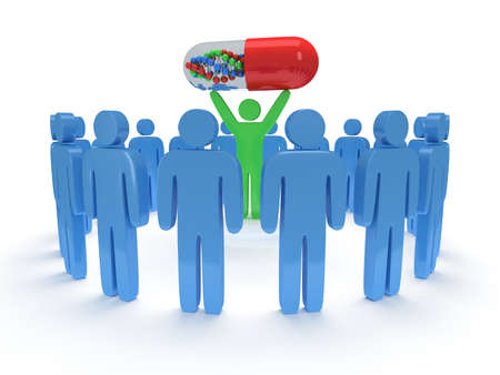 praise: Blue people in circle around green man with pill DNA chain within. 3D render. Teamwork, business, praise, partnership, pills, medicine. Stock Photo