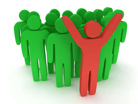 teamleader: Group of stylized green people and red teamleader with hands up stand on white. Isolated 3d render icon. Teamwork, business concept.