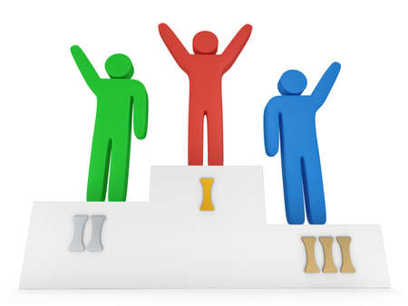 Winners on sports podium for the first, second and third place isolated on white. Stylized colored people raise hands up.  3D render. photo