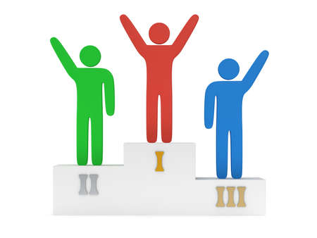 Winners on sports podium for the first, second and third place isolated on white. Stylized colored people raise hands up.  3D render. Imagens