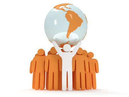 equator: Earth planet globe and group of people with teamleader on white. 3D render. America view. Praise, teamwork, eco, business, global concept.
