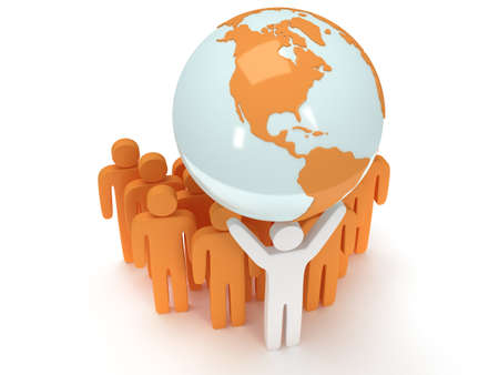 praise: Earth planet globe and group of people with teamleader on white. 3D render. America view. Praise, teamwork, eco, business, global concept.