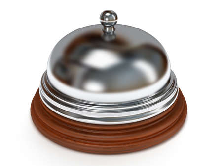 Hotel reception bell with metal body on wooden base. 3d render. Vacation, travel, service concept. photo