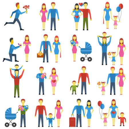 babygirl: Family stylized icons set.  Illustration