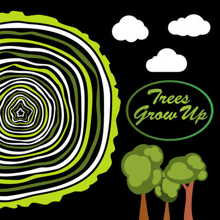 tree rings: Trees grow up. Tree rings. Saw cut tree trunk vector.