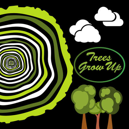 grow up: Trees grow up. Tree rings. Saw cut tree trunk vector.
