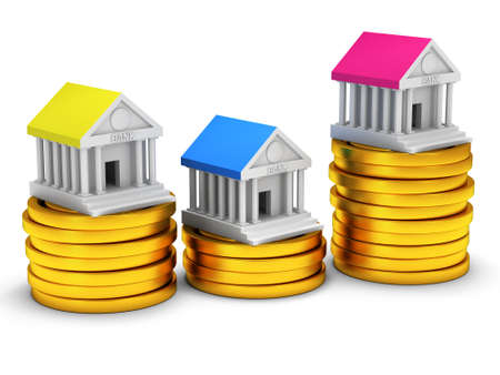 headquarter: Bank buildings on stack of coins. 3D render icon isolated on white. Real estate, rent, finance and credit concept.