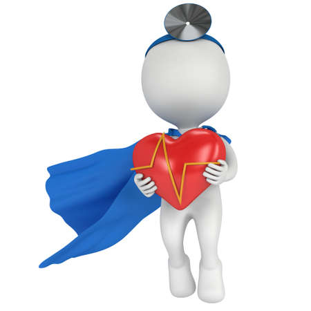 cordial: Brave superhero doctor with a red heart with cardiogram. 3d render man isolated on white. Medicine and healthcare concept.
