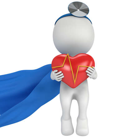 ent: Brave superhero doctor with a red heart with cardiogram. 3d render man isolated on white. Medicine and healthcare concept.