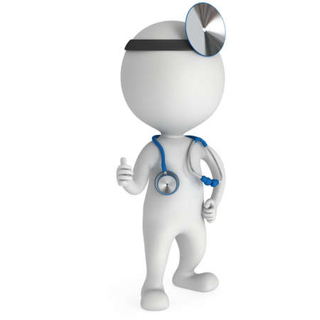 ent: Doctor with a stethoscope and mirror on his head showing thumbs up. 3d render man isolated on white. Medicine and healthcare concept.