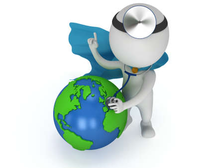 World health day concept with earth globe and superhero doctor with a stethoscope and mirror on his head. 3d render isolated on white. Medicine and healthcare and Earth illustration Stock Photo