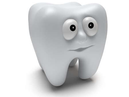 Cute healthy tooth with funny face isolated on white background. 3D render. Dental, medicine, healthcare concept. photo