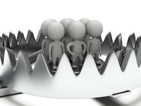 Metal animal trap with group of businessmen. Attached to the ground with a metal chain. Isolated. 3D render. Mantrap, danger, risk concept
