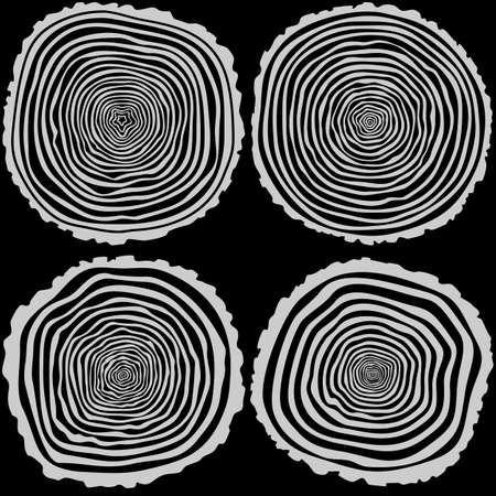 tree rings: Set of four vector tree rings background and saw cut tree trunk. Conceptual graphics.