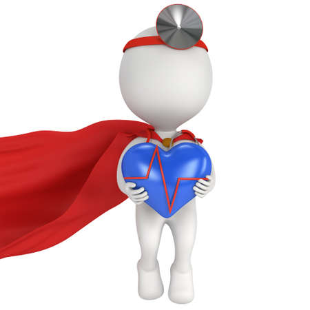 ent: Brave superhero doctor with blue heart with cardiogram. 3d render man isolated on white. Medicine and healthcare concept.