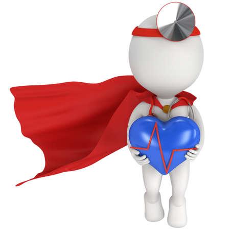 心電図と青いハートと勇敢なスーパー ヒーローの医者。3 d レンダリング男は、白で隔離。医学・医療のコンセプトです。