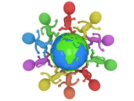 세계를 달리는 작은 색의 사람들. 여행 및 국제 개념입니다. 3d 렌더링에 격리 된 흰색.