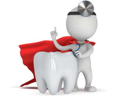 그의 머리에 청진 기 및 미러와 슈퍼 히어로 의사 건강 한 이빨을 검사합니다. 3d 렌더링 화이트 절연 남자입니다. 의학 및 의료 치과 개념입니다. 스톡 콘텐츠